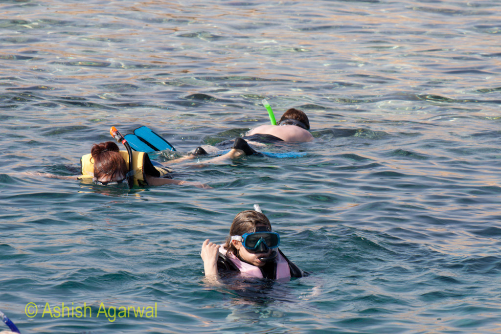 Tourists in different physical modes while doing snorkeling in the Ras Muahmmed marine park in Egypt