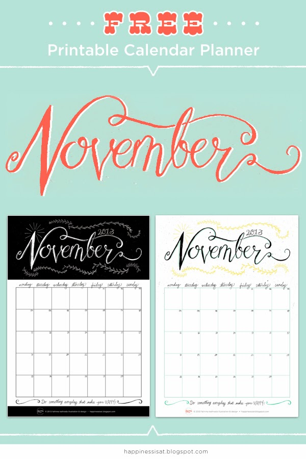 FREE November printable calendar planner by Happiness is... illustration & design