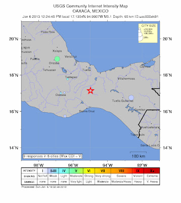 Epicentro sismoOaxaca, México, 06 de Enero 2013