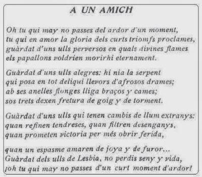 Soneto de Pere Riera i Riquer, A un Amich