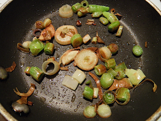 Browned Green Garlic in Frying Pan