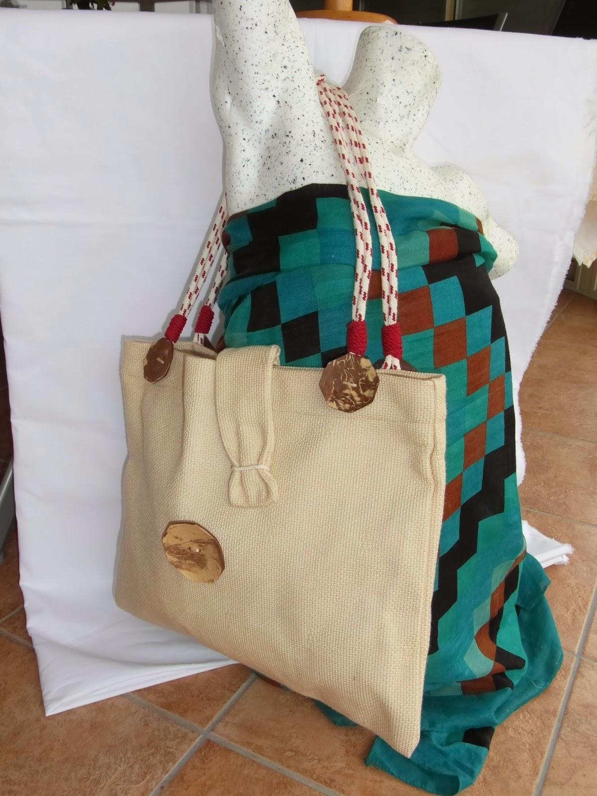 mimie cr ation sac cabas en tissu grosse toile beige. Black Bedroom Furniture Sets. Home Design Ideas