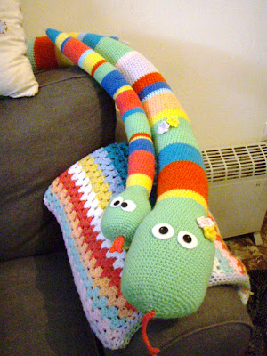 crochet baby snake toy funny stripes big and small stuffed