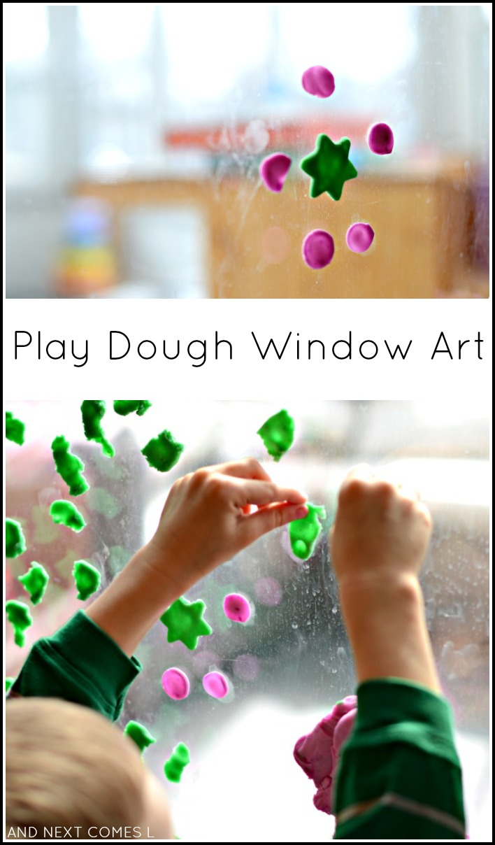 Fine motor art for kids using play dough and natural light from And Next Comes L