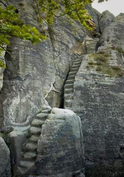 Stairs in Elbe Sandstone Mountains, Germany