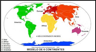 Mapamundi, modelo de 6 continentes