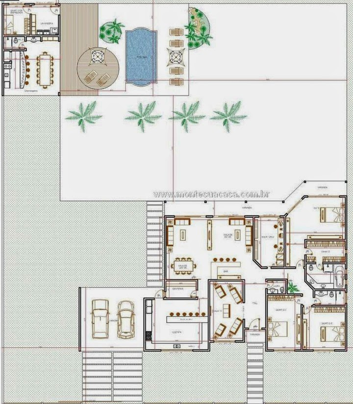Planta de casa com piscina e churrasqueira