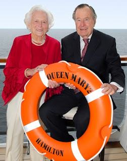Former President George and Barbara Bush on Cunard's Queen Mary 2