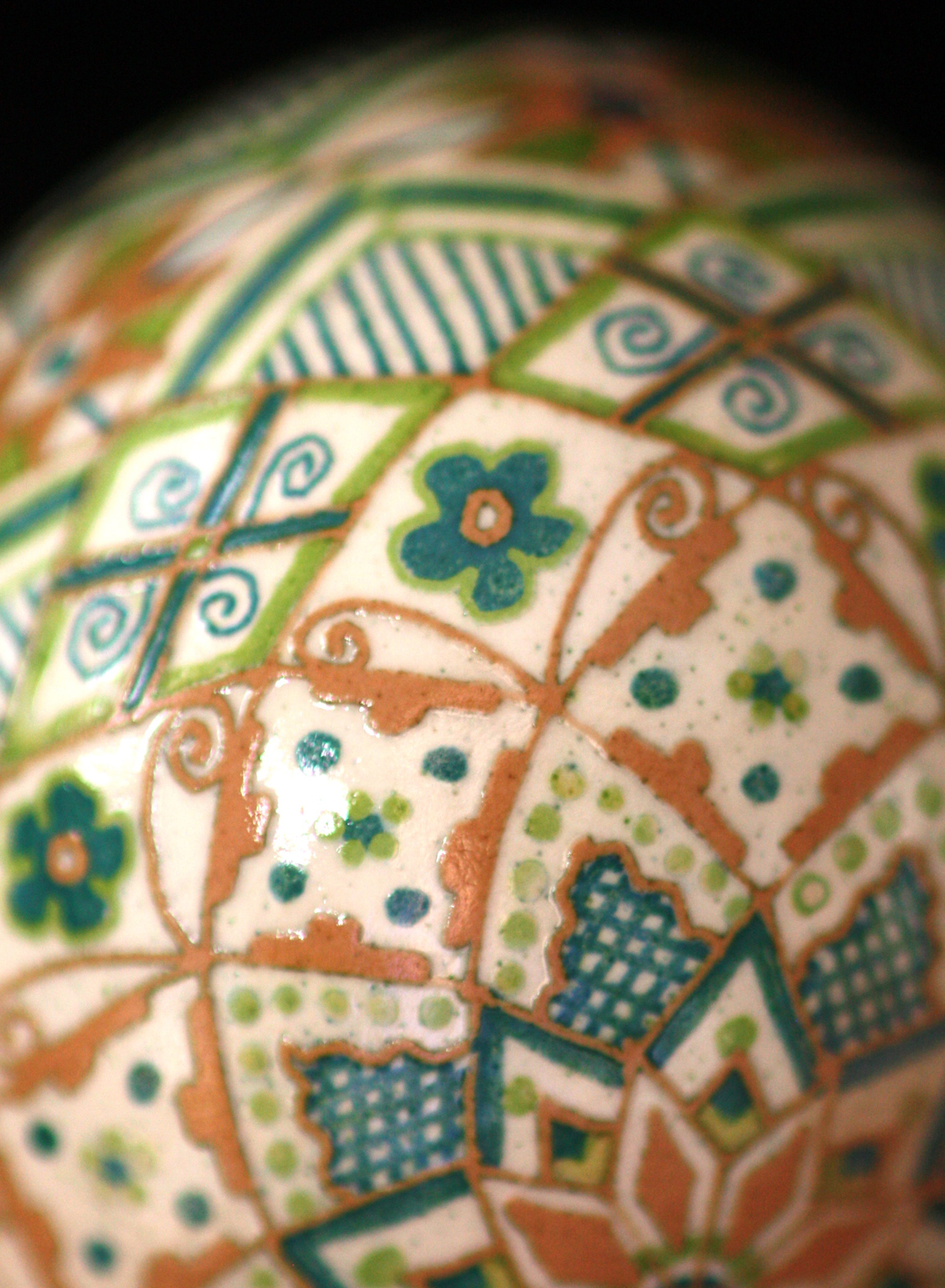 Etched Brown Chicken Egg Rose Design in Blue and Green
