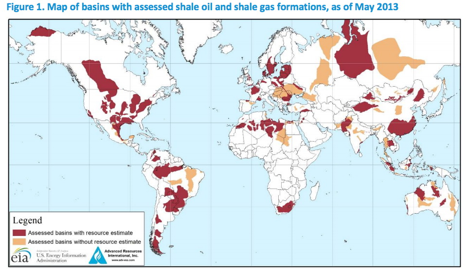Map of basins with assessed shale oil & shale gas formats