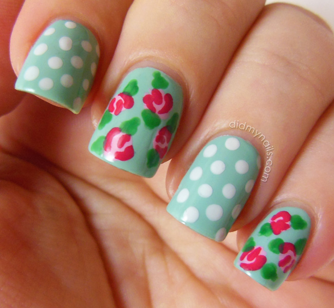 this tutorial for how to do vintage rose nail art