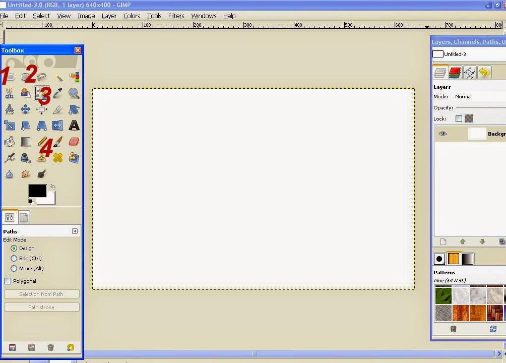 Membuat Garis Lurus, Bebas, Lingkaran dan Segi Empat Di GIMP 2