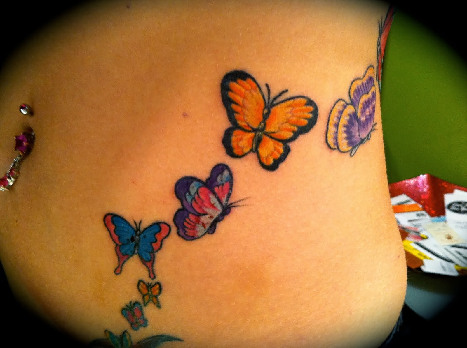 Women Side Butterfly Tattoo Design