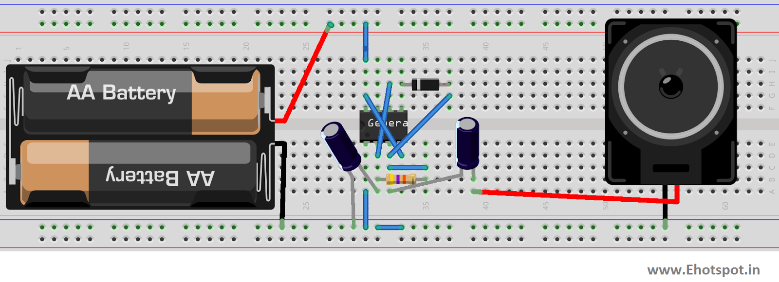 Uneven Clicks Using 555 Ic Electronics Hotspot Timer Flashing Led Circuit Note I Didnt Have A 47k Resistance So Used Combination Of Resistances To Make Up