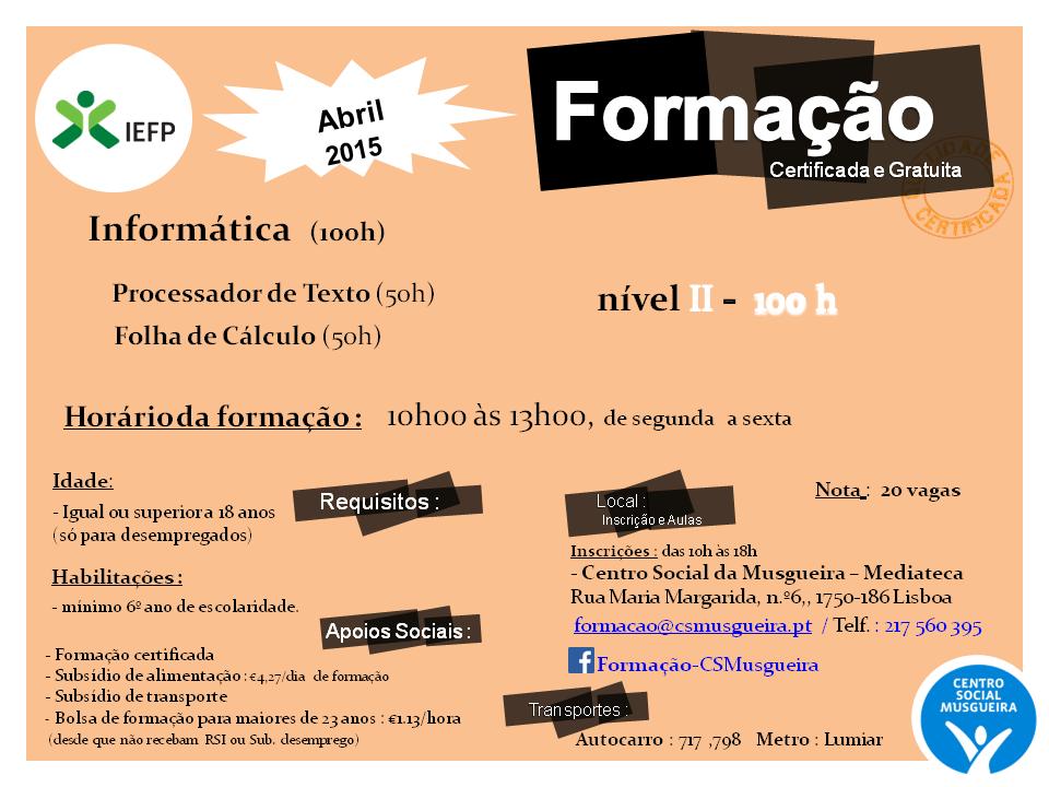 Cursos co financiados para desempregados – Musgueira (Lisboa)