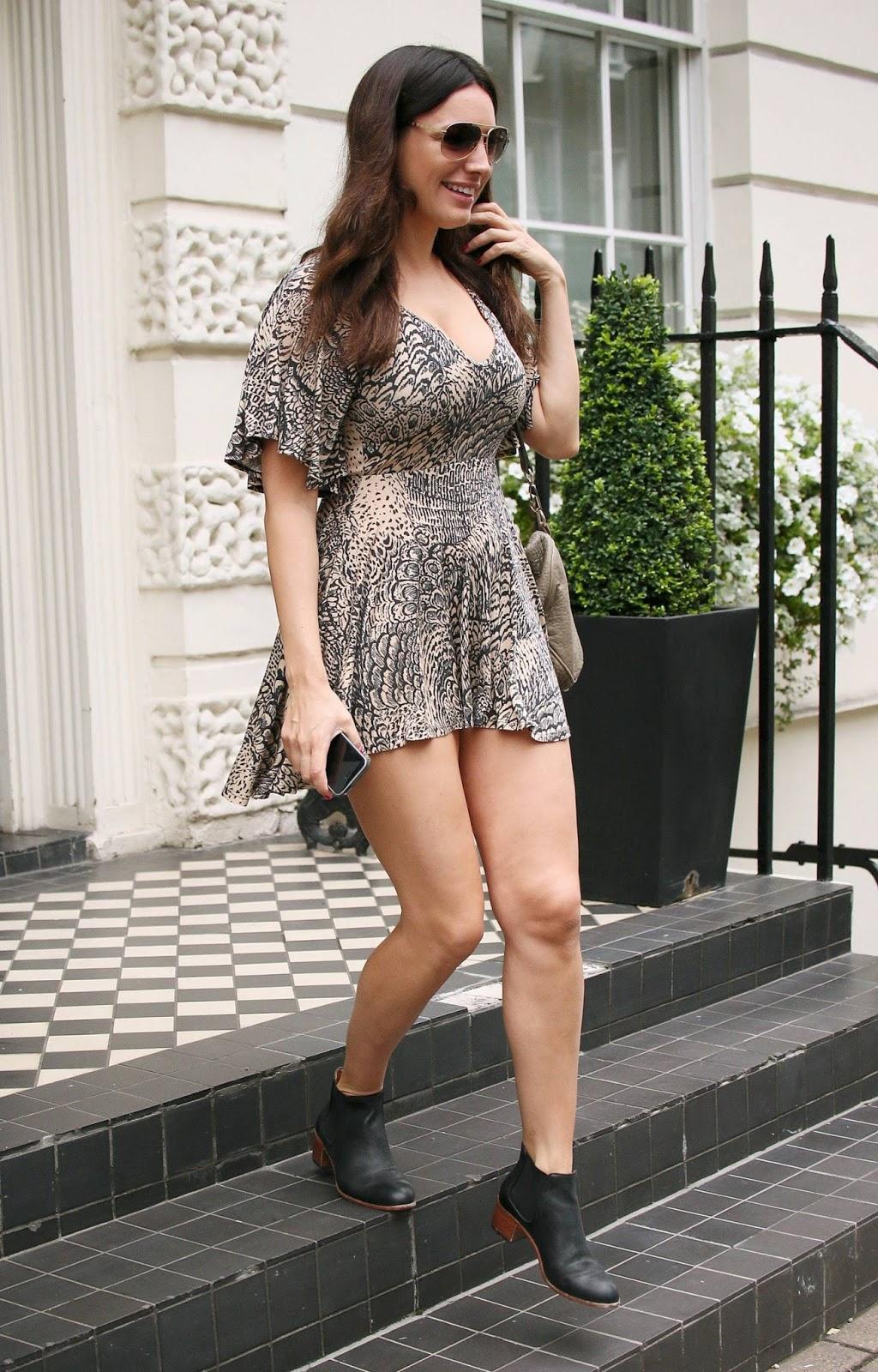 Kelly Brook Upskirt Candids in London - Fashion Style