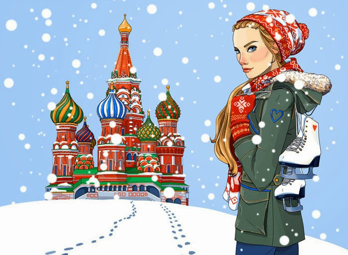 winter wonderland in Moscow in front of St. Basil's Cathedral