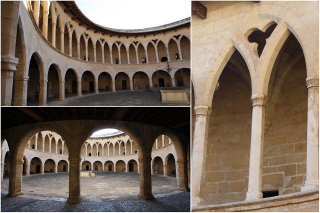 Patio interior y arcos en el Castillo de Bellver en Palma de Mallorca