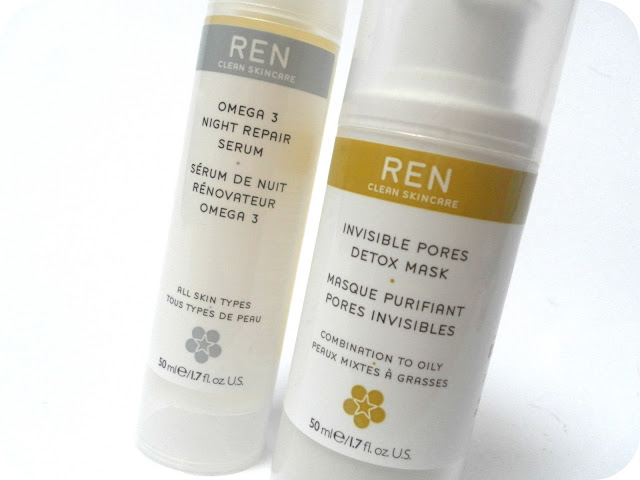 REN Omega 3 Night Repair Serum and REN Invisible Pores Detox Mask