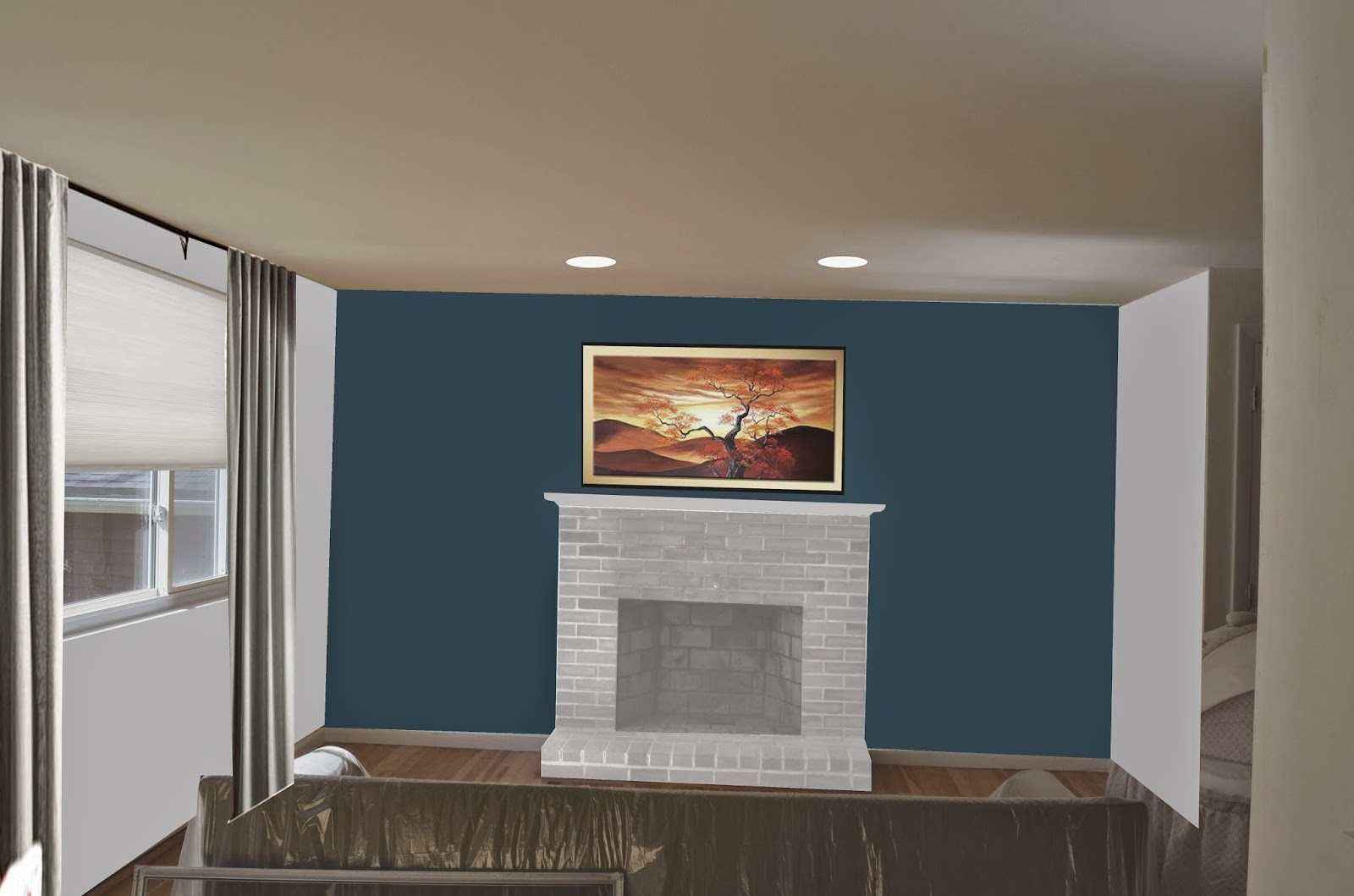 lighting i recommend adding two recessed down lights above the fireplace to had some extra light to the room currently they have 2 lamps for this space - Dining Room Paint Colors