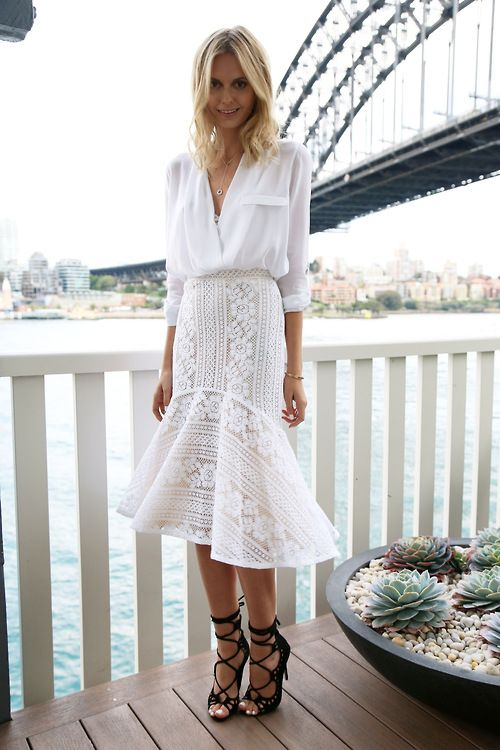 Lace white skirt and white shirt with adorable high heels