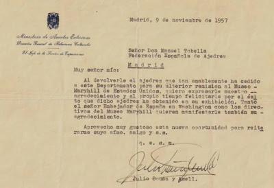 Carta del Ministerio de Asuntos Exteriores de España a Manuel Tobella
