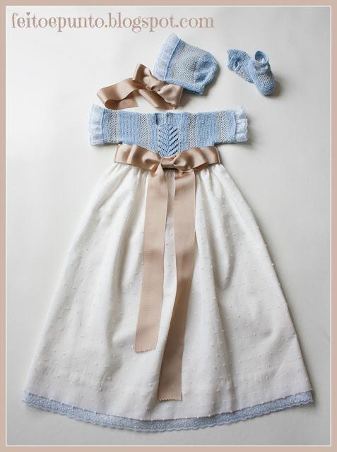Faldón de plumeti y punto para bebé
