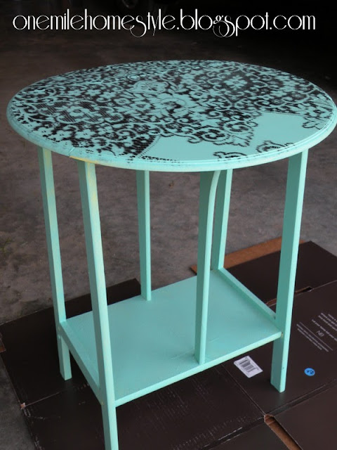 Mint and black accent table-before