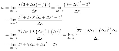 gradien garis singgung pada kurva f(x) = x3 di titik dengan absis 3