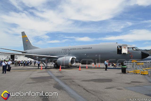 B-737F Combi de la Fuerza Aérea Colombiana  (FAC1209) exhibido durante la F-Air 2013