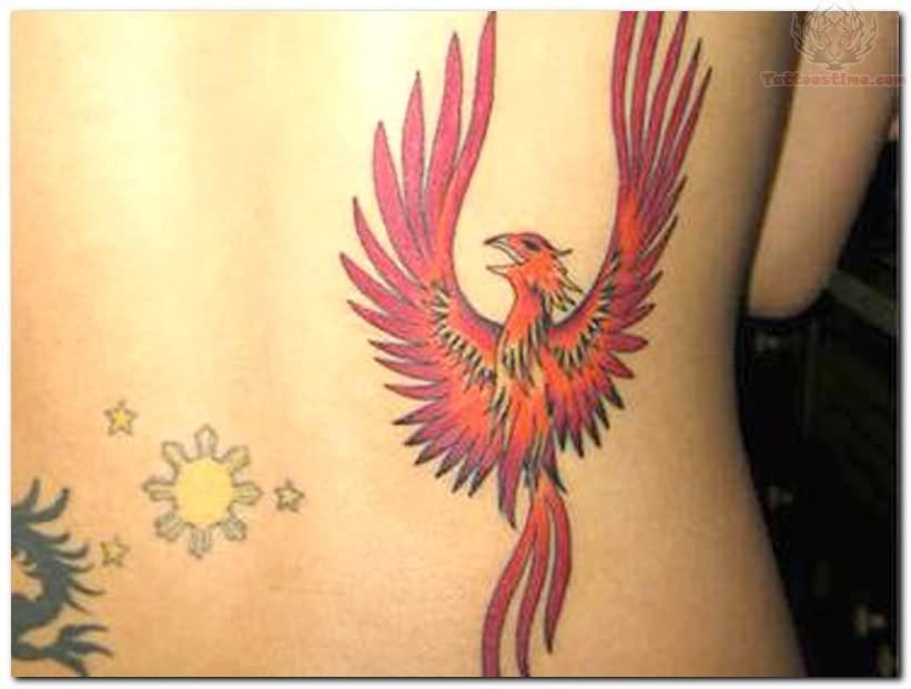 Phoenix tattoo back neck