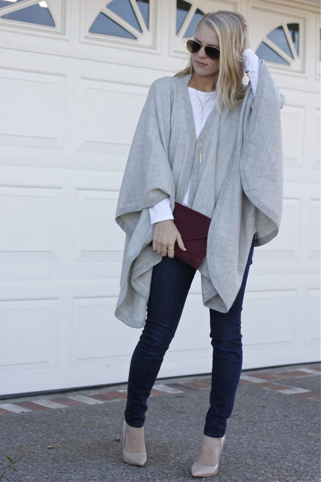 Shae Roderick, outfit, Cuyana, Cape, grey, style, look, OC blogger