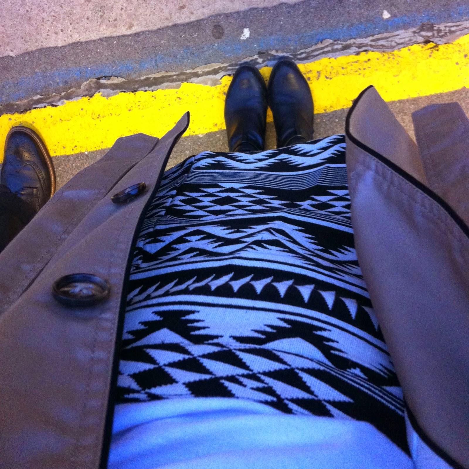 Topshop Monochrome Aztec A-line Skirt