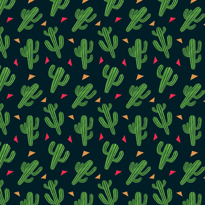 Cactus Fiesta Pattern Watercolor Illustration by Haidi Shabrina