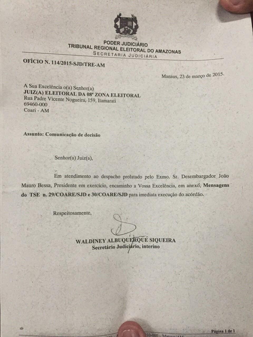 TRE NOTIFICA JUÍZA ELEITORAL DE COARI PARA CUMPRIMENTO DO ARCÓRDÃO