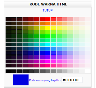 Membuat Widget Kode Warna HTML