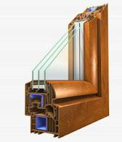 Okno PVC Winegretic Premium w okleinie Złoty Dąb od Oknoplast