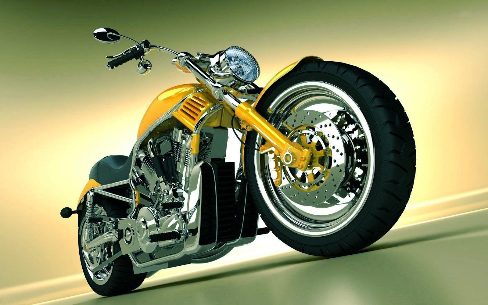 Wallpaper met gele motor