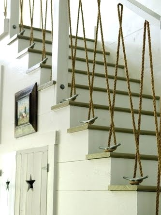 Bathroom handrails installation - Nautical Staircases With Rope Railing And Rope Bannister