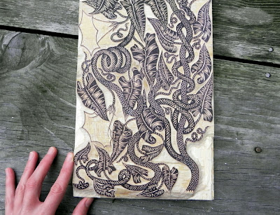 snake vine woodcut print
