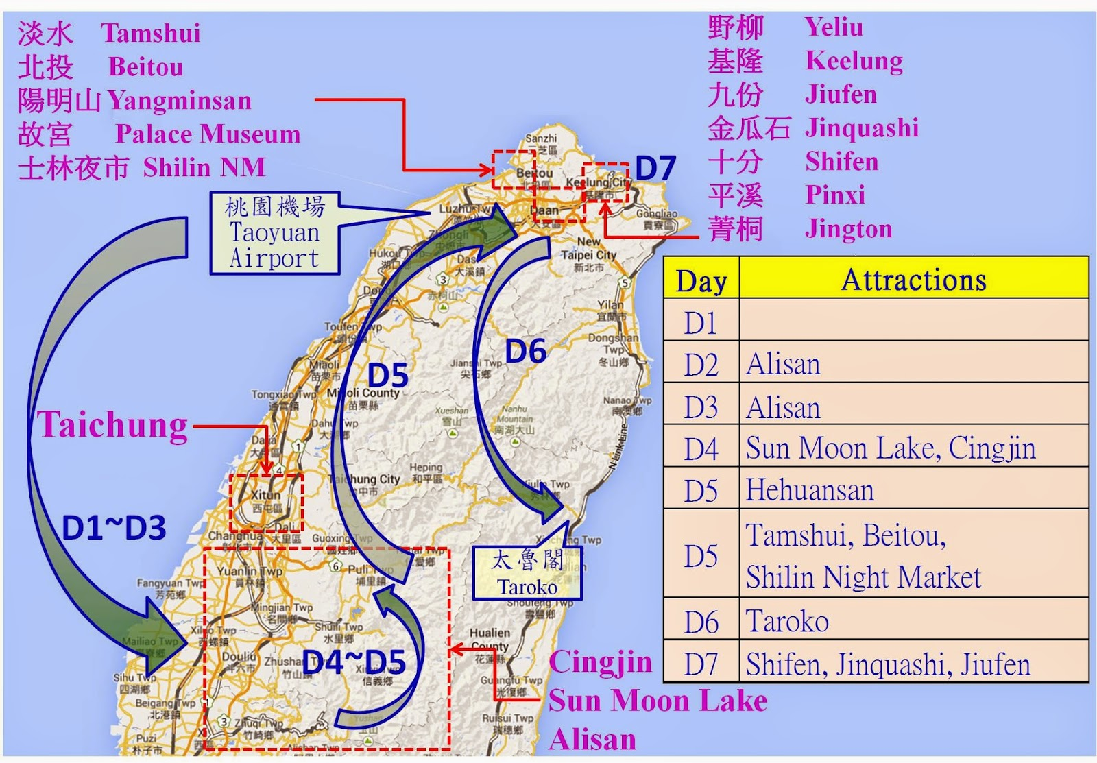 Taiwan itinerary examples travel taiwan remember the following examples just show how to make a smooth itinerary plan some information may be out of day you should check the timetable and sciox Choice Image