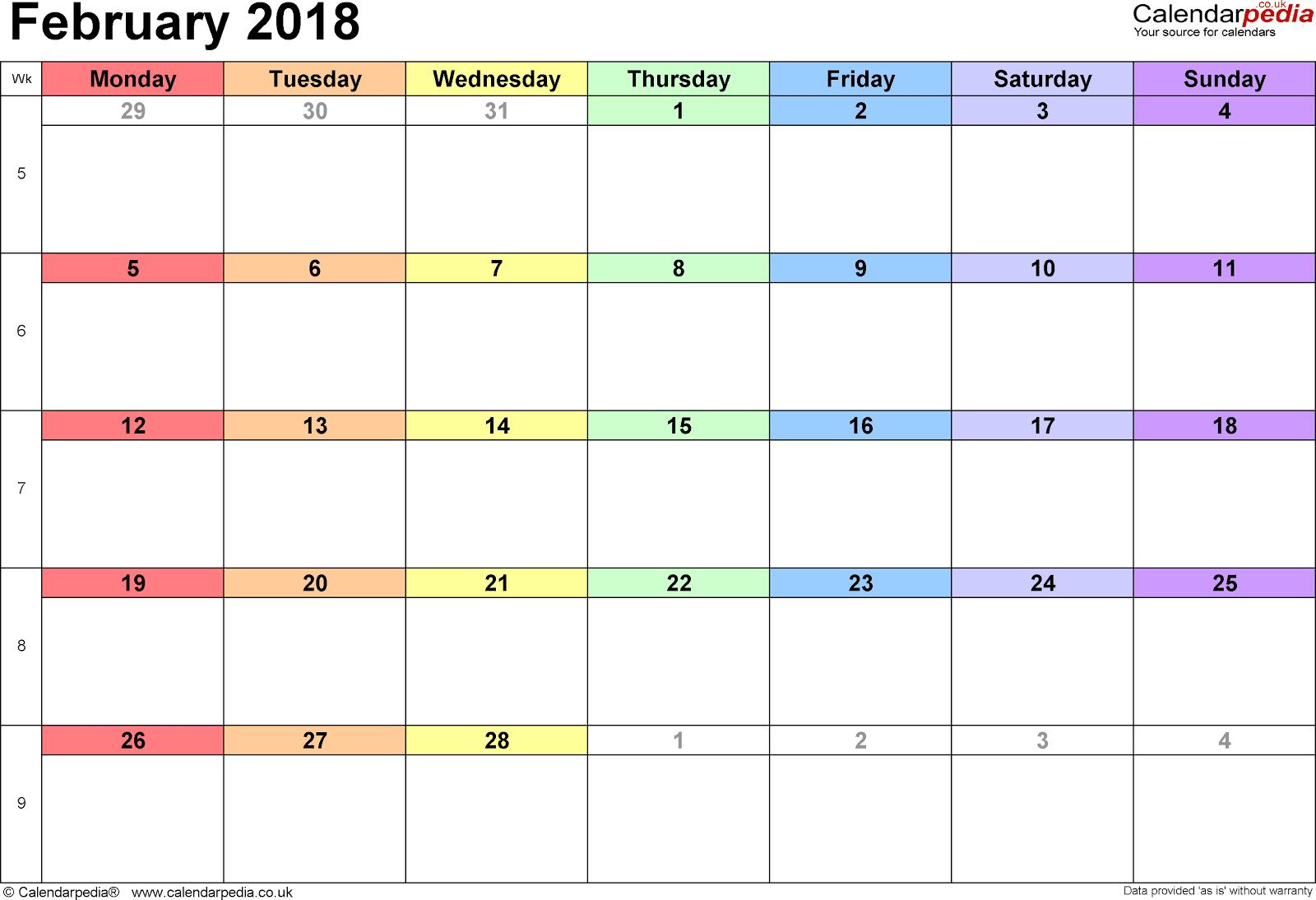 free printable calendars feb 2018