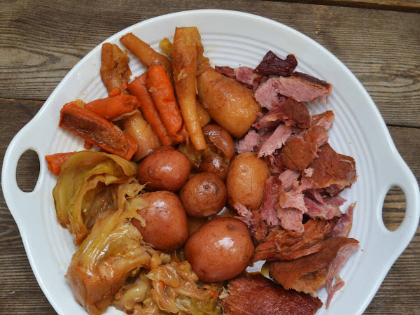 New England Boiled Dinner (Smoked Pork Shoulder/Picnic Ham w/ Root Veggies and Cabbage)