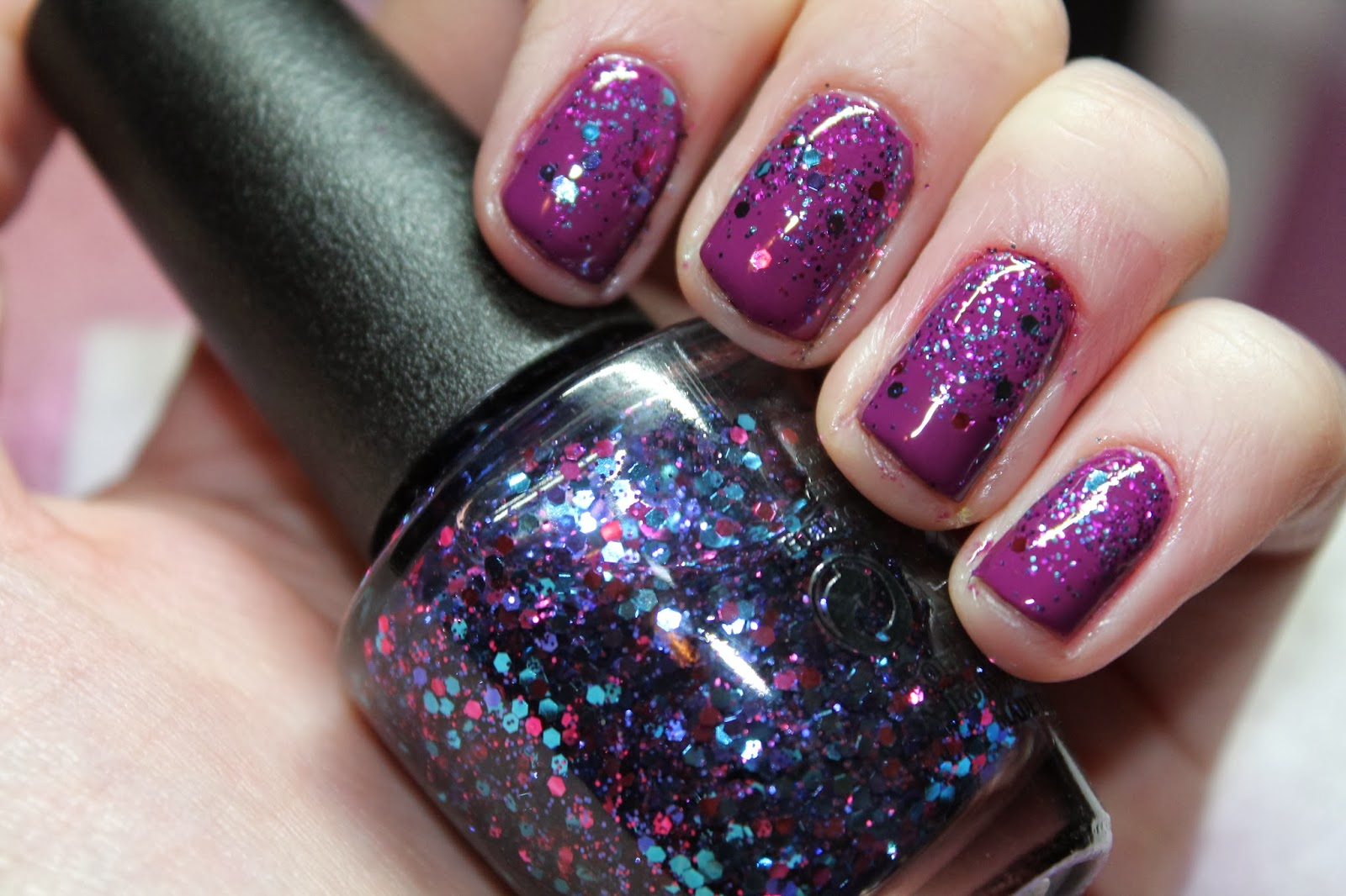Nails Inc - Sinful Colors - OPI - Purple Glitter Gradient Nail Art