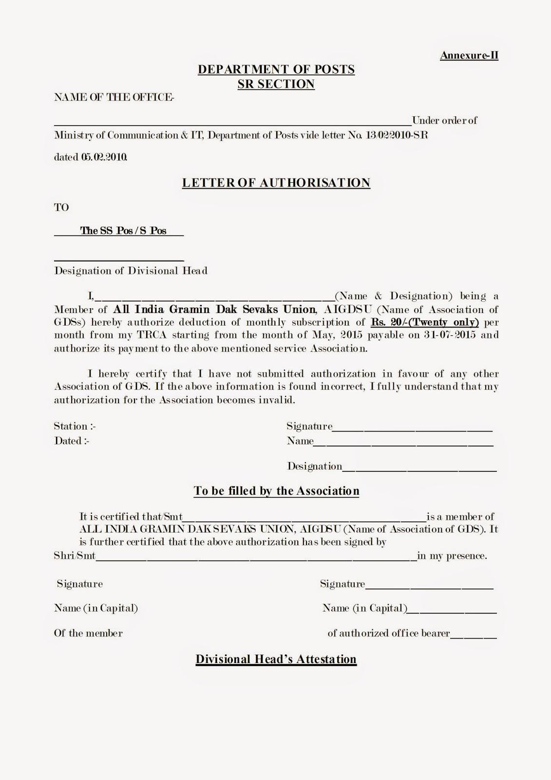 Rural Postal Employees Membership Letter Of Authorisation