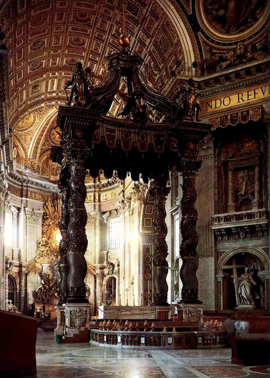 aspects of catholicism rome and the primacy of st peter st peter s basilica baldacchino bernini