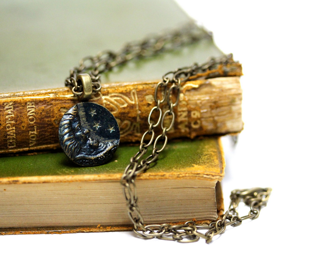 Antique Man in the Moon Necklace #antique #jewelry #vintage #moon #stars