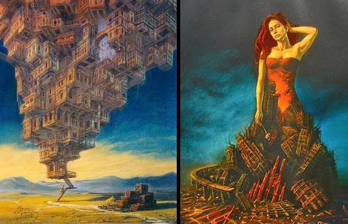 15-Babel-Tower-and-Cassandra-Marcin-Kołpanowicz-Painting-Architecture-in-Surreal-Worlds-www-designstack-co
