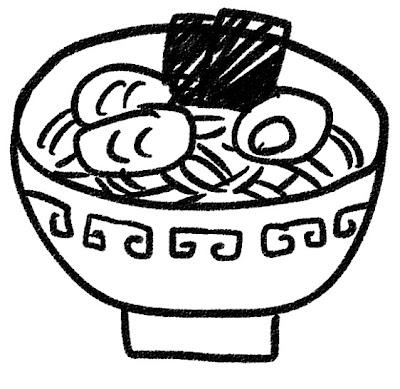 ラーメンのイラスト モノクロ線画