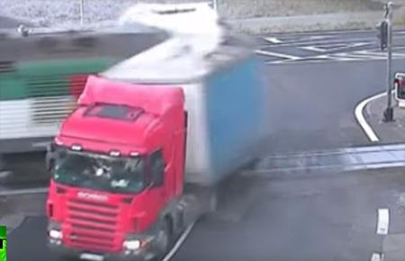 Passenger train smashes truck on rail crossing